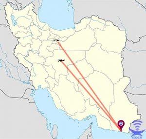 فاصله چابهار تا اصفهان و تهران